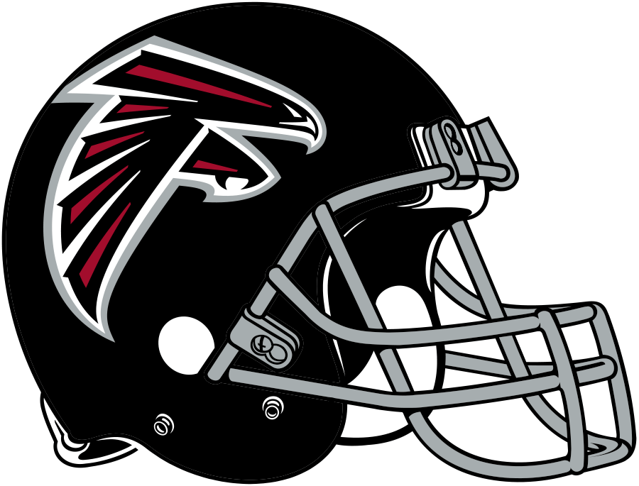 Atlanta Falcons Helmet Helmet (2020-Pres) - Black shell with grey facemask, Falcons primary logo on either side SportsLogos.Net
