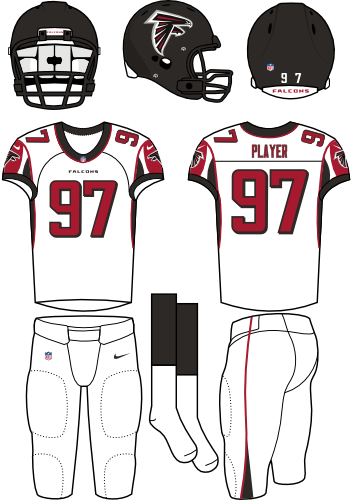 Atlanta Falcons Uniform Road Uniform (2012-2019) - Black helmet (primary logo on the side) with white jersey (accented in red) and white pants. Manufactured by Nike. SportsLogos.Net
