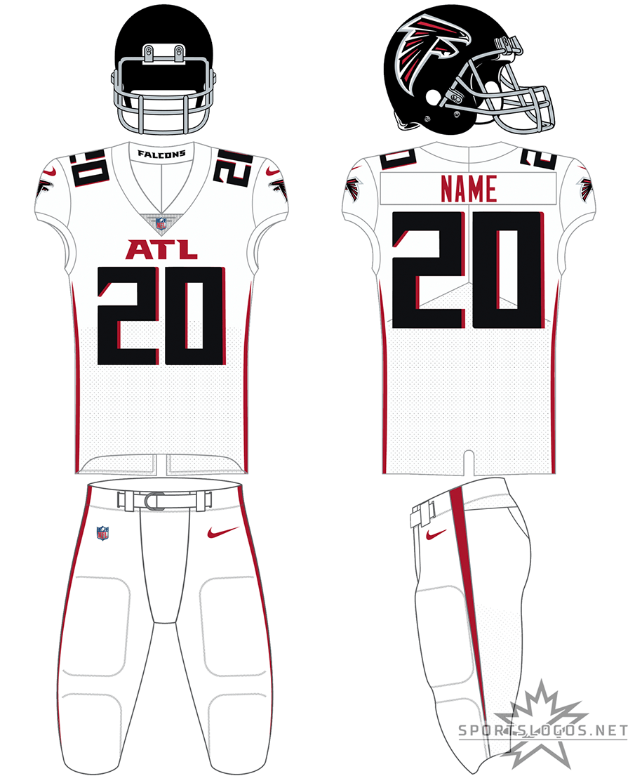 Atlanta Falcons Uniform Road Uniform (2020-Pres) - White jersey with white pants, ATL across the chest in red SportsLogos.Net