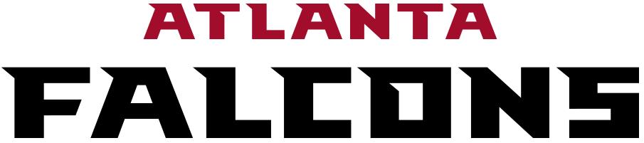 Atlanta Falcons Logo Wordmark Logo (2020-Pres) - Atlanta in red above Falcons in black SportsLogos.Net