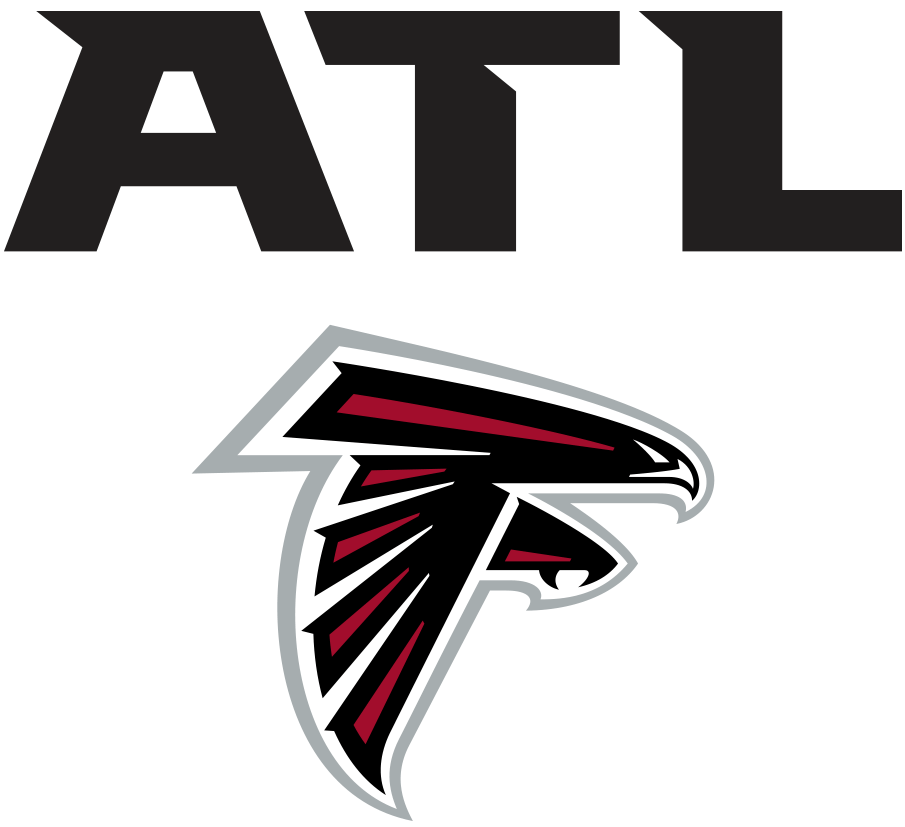 Atlanta Falcons Logo Wordmark Logo (2020-Pres) - ATL in black above Falcons primary logo SportsLogos.Net