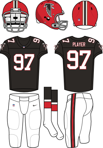 Atlanta Falcons Uniform Alternate Uniform (2012) - Red helmet (primary logo on side) with black jersey and white pants. Throwback era is 1966. Manufactured by Nike. SportsLogos.Net