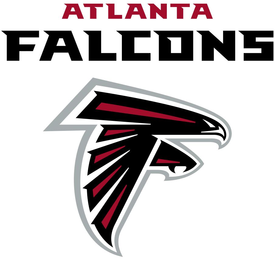 Atlanta Falcons Logo Wordmark Logo (2020-Pres) - Atlanta in red above Falcons in black above the team's primary logo SportsLogos.Net