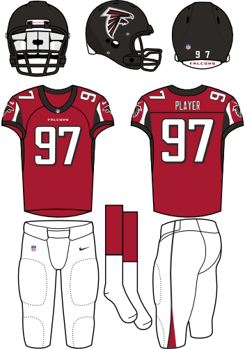 Atlanta Falcons Uniform Home Uniform (2012-2019) - Black helmet (with primary logo) with red jersey (accented in black) and white pants. Manufactured by Nike. SportsLogos.Net