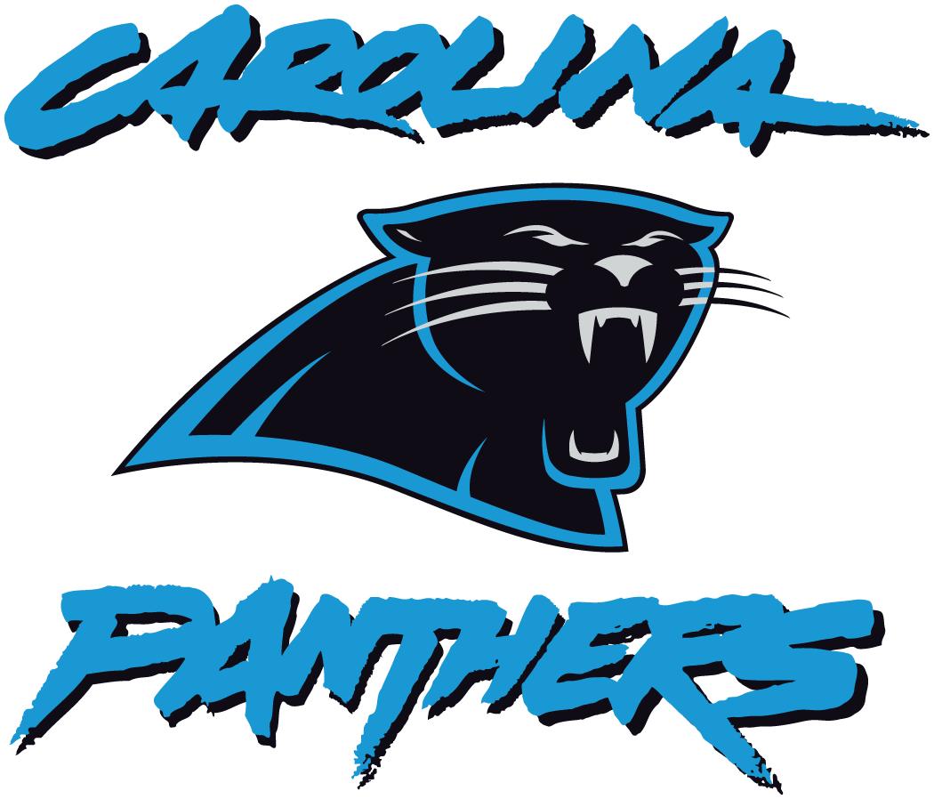 Carolina Panthers Logo Alternate Logo (1996-2011) - Panther head in between graffiti style script SportsLogos.Net