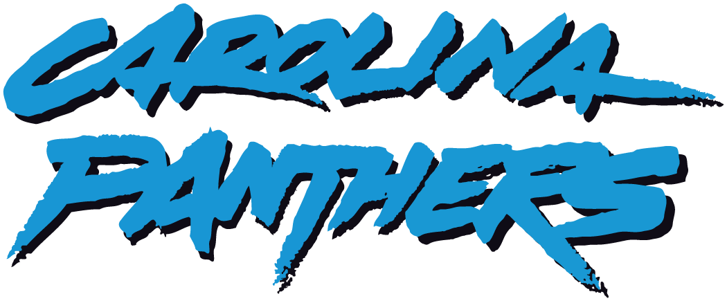 Carolina Panthers Logo Wordmark Logo (1996-2011) - Carolina Panthers in light blue and black graffiti style SportsLogos.Net