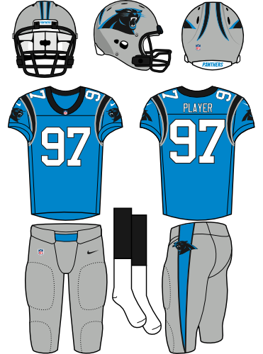 Carolina Panthers Uniform Alternate Uniform (2012-Pres) - Silver helmet (primary logo on side) with electric blue jersey (accented in black) with silver pants. Manufactured by Nike. SportsLogos.Net