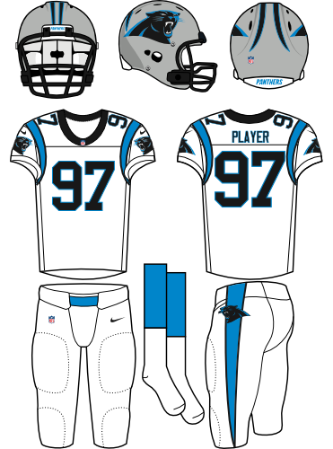 Carolina Panthers Uniform Road Uniform (2012-Pres) - Silver helmet (primary logo on side) with white jersey (accented in electric blue) and white pants. Manufactured by Nike. SportsLogos.Net
