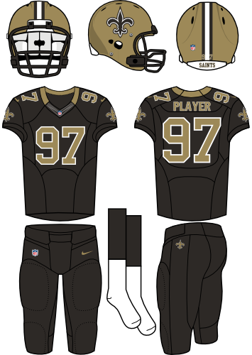 New Orleans Saints Uniform Home Uniform (2012-Pres) - Gold helmet (primary logo on side) with black jersey and black pants. Manufactured by Nike. SportsLogos.Net