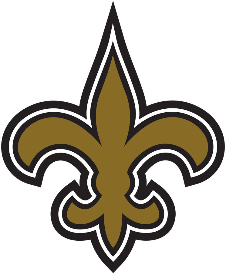 New Orleans Saints Logo Primary Logo (2000-2001) - Old gold, black, and white fleur-de-lis. Shade of gold altered slightly for 2002 SportsLogos.Net