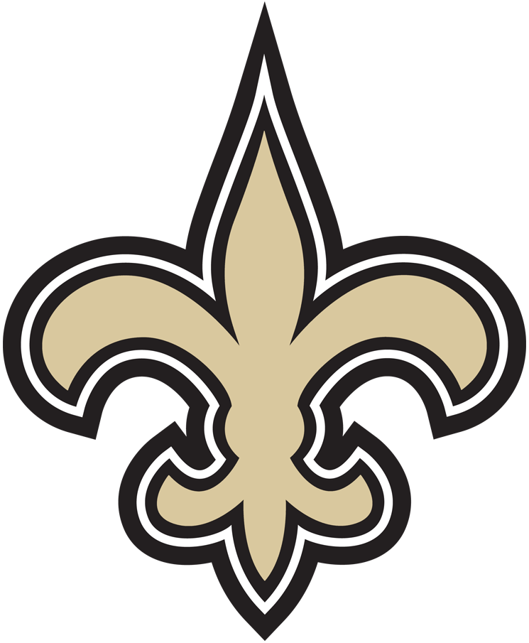 New Orleans Saints Logo Primary Logo (2012-2016) - Old gold, black, and white fleur-de-lis. Shade of gold altered slightly for 2012 and again in 2017 SportsLogos.Net