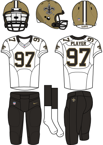 New Orleans Saints Uniform Road Uniform (2012-Pres) - Gold helmet (primary logo on side) with white jersey and black pants. Manufactured by Nike. SportsLogos.Net
