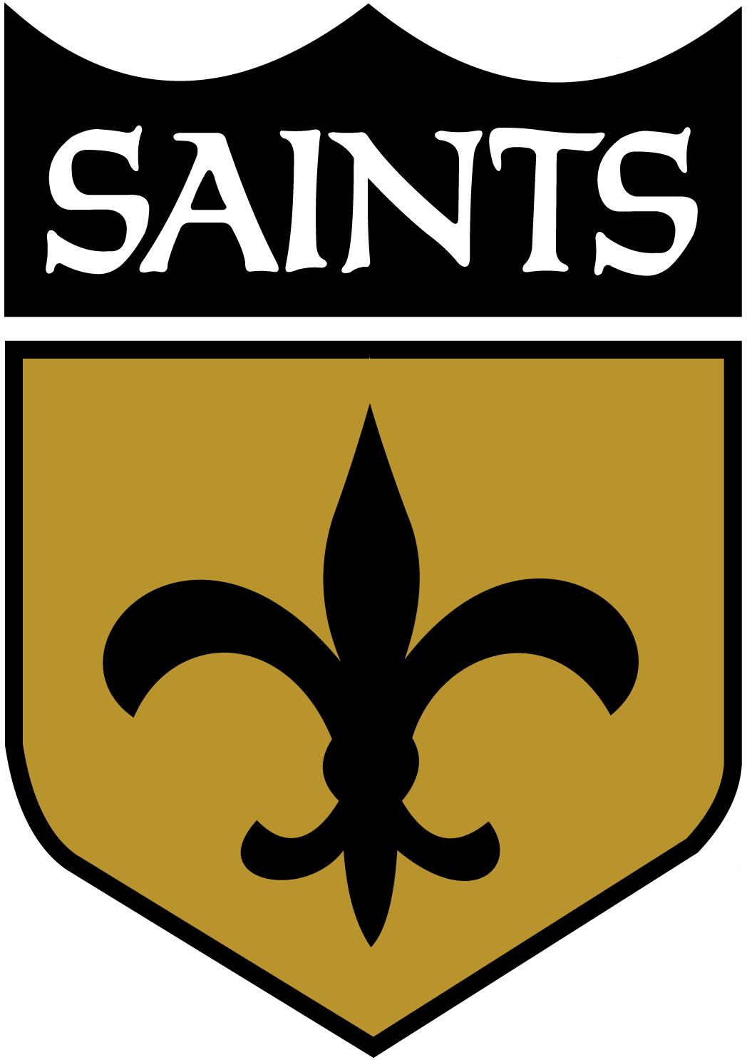 New Orleans Saints Logo Alternate Logo (1967-1984) - Black fleur-de-lis inside black and gold NFL like shield SportsLogos.Net
