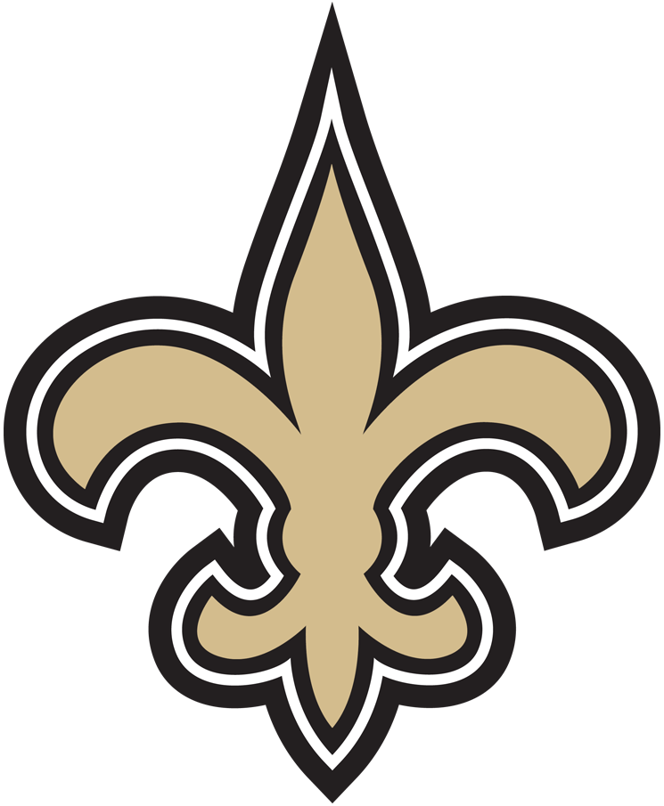 New Orleans Saints Logo Primary Logo (2017-Pres) - Old Gold fleur-de-lis with multiple black and white outlines. Shade of gold altered slightly for the 2017 season SportsLogos.Net
