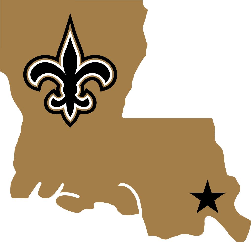 New Orleans Saints Logo Alternate Logo (2000-2005) - Fleur de lis and star on New Orleans in a gold Louisiana SportsLogos.Net
