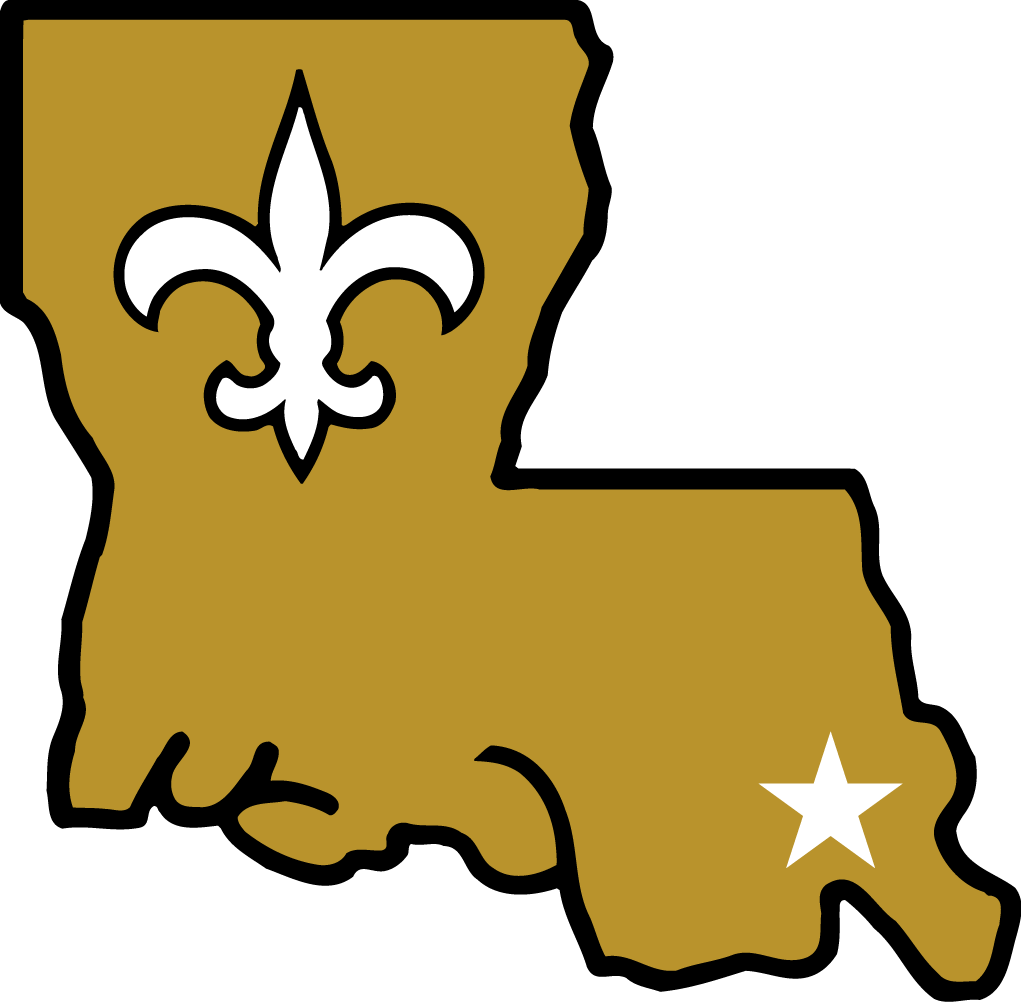 New Orleans Saints Logo Alternate Logo (1985-1999) - Fleur de lis and star on New Orleans in a gold Louisiana SportsLogos.Net