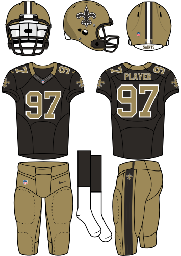 New Orleans Saints Uniform Home Uniform (2012-Pres) - Gold helmet (primary logo on side) with black jersey and gold pants. Manufactured by Nike. SportsLogos.Net