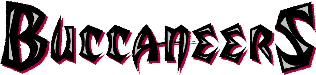 Tampa Bay Buccaneers Logo Wordmark Logo (1997-2013) - Buccaneers in black with pewter accents and red shadow SportsLogos.Net