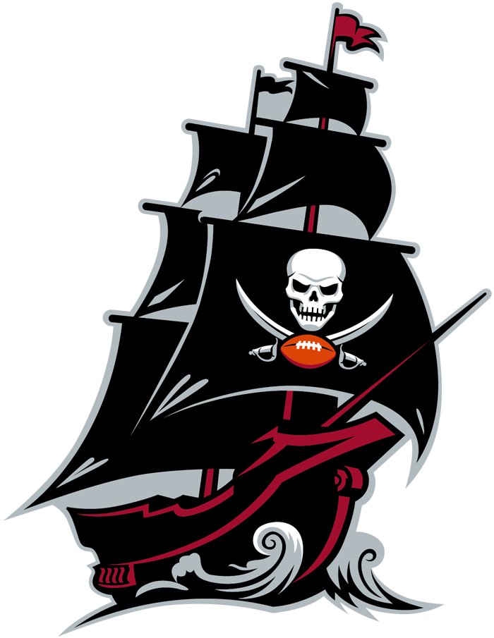Tampa Bay Buccaneers Logo Alternate Logo (2020-Pres) - A black, red, and silver pirate ship with a skull and two crossed swords on the sail SportsLogos.Net