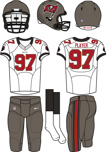Tampa Bay Buccaneers Uniform Road Uniform (2012) - Pewter helmet (primary logo on side) with white jersey (accented in black) with pewter pants. Manufactured by Nike. SportsLogos.Net