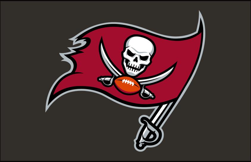 Tampa Bay Buccaneers Logo Primary Dark Logo (2020-Pres) - Tampa Bay Buccaneers primary logo on a pewter background SportsLogos.Net