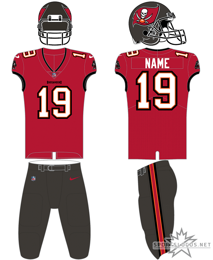 Tampa Bay Buccaneers Uniform Home Uniform (2020-Pres) - Tampa Bay Buccaneers new uniform for 2020, red jersey with pewter pants. Note this jersey can also be worn with the road white pants SportsLogos.Net
