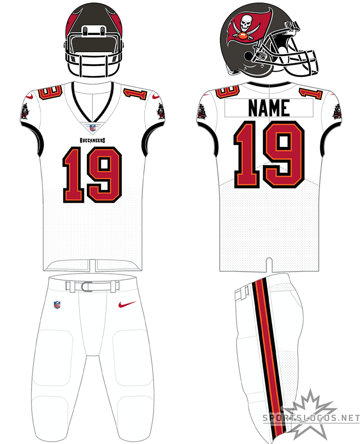 Tampa Bay Buccaneers Uniform Road Uniform (2020-Pres) - Tampa Bay Buccaneers new uniform for 2020, white jersey with white pants. Note this jersey can also be worn with the home pewter pants SportsLogos.Net