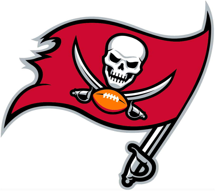 Tampa Bay Buccaneers Logo Primary Logo (2014-2019) - A white skull above two crossed swords and a football on a red flag held aloft by sword SportsLogos.Net