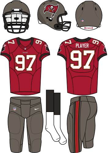 Tampa Bay Buccaneers Uniform Home Uniform (2012) - Pewter helmet (primary logo on side) with red jersey (accented in black) and pewter pants. Manufactured by Nike. SportsLogos.Net