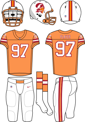 Tampa Bay Buccaneers Uniform Throwback Uniform (2009-2012) - White helmet (primary logo on side) with light orange jersey (accented in red) with white pants. Throwback era is 1976. Manufactured by Nike. SportsLogos.Net