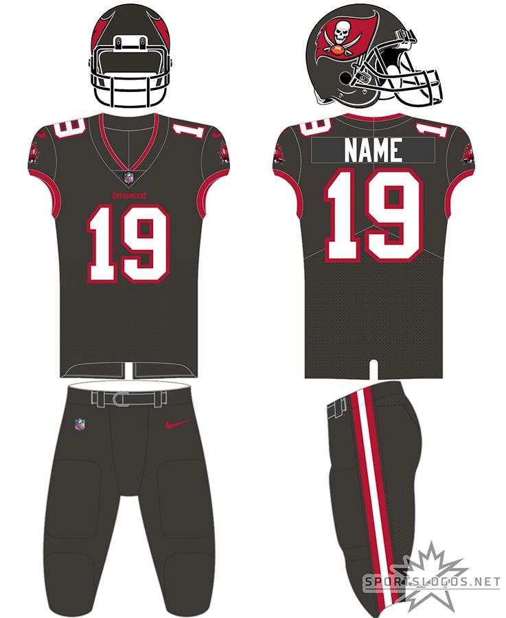 Tampa Bay Buccaneers Uniform Alternate Uniform (2020-Pres) - Tampa Bay Buccaneers new ColorRush uniform for 2020, pewter jersey with pewter pants. SportsLogos.Net