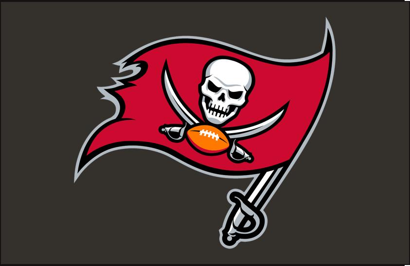 Tampa Bay Buccaneers Logo Helmet Logo (2014-2019) - Pirate flag logo in red and black on pewter, worn on side of Tampa Bay Buccaneers helmets from 2014 to 2019 SportsLogos.Net