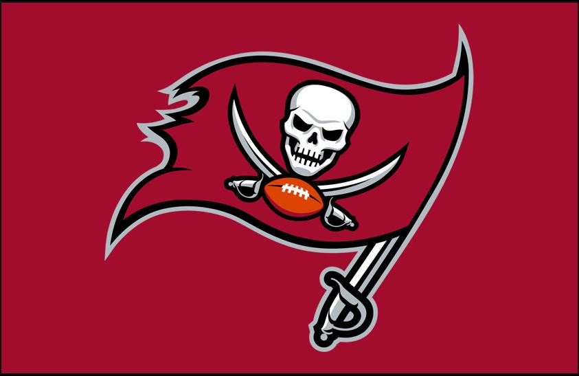 Tampa Bay Buccaneers Logo Primary Dark Logo (2020-Pres) - Tampa Bay Buccaneers primary logo on a red background SportsLogos.Net