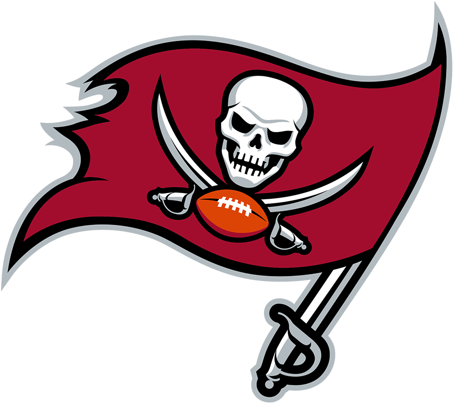 Tampa Bay Buccaneers Logo Primary Logo (2020-Pres) - A red pirate flag waving from a sword with a white skull, two crossed swords, and a football on it. The shade of red was darkened for the 2020 season SportsLogos.Net
