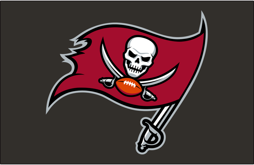 Tampa Bay Buccaneers Logo Helmet Logo (2020-Pres) - Pirate flag logo in darker red and black on pewter, worn on side of Tampa Bay Buccaneers helmets starting in 2020 SportsLogos.Net