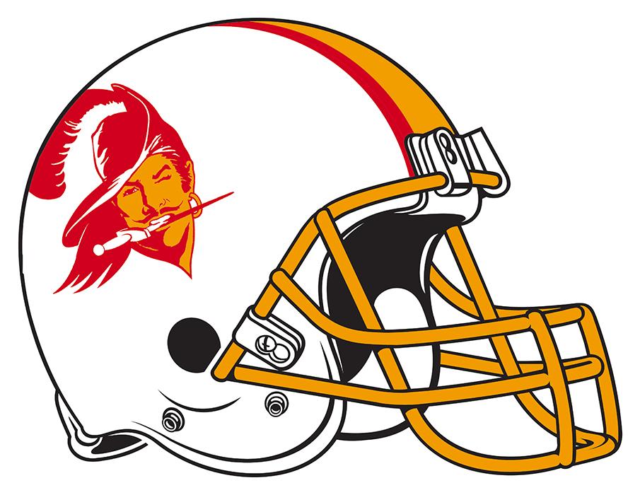 Tampa Bay Buccaneers Helmet Helmet (1976-1996) - White helmet with orange and red stripes and buccaneer logo on side. SportsLogos.Net