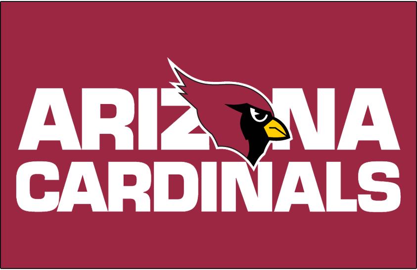 Arizona Cardinals Logo Wordmark Logo (1994-2004) - Arizona Cardinals wordmark on red SportsLogos.Net