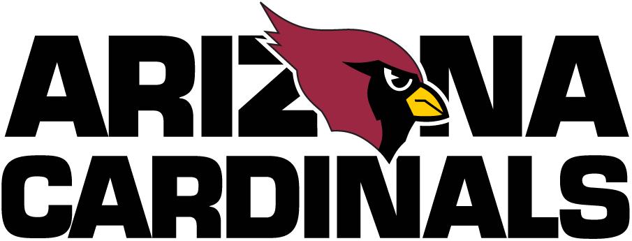 Arizona Cardinals Logo Wordmark Logo (1994-2004) - Arizona Cardinals in black with the O as a cardinal SportsLogos.Net