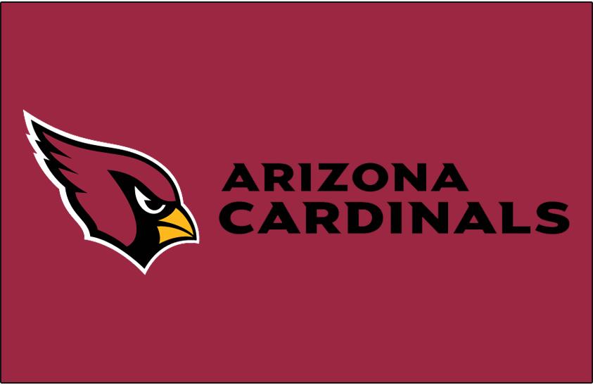 Arizona Cardinals Logo Wordmark Logo (2005-Pres) - Arizona Cardinals wordmark in black to the right of primary logo on red SportsLogos.Net