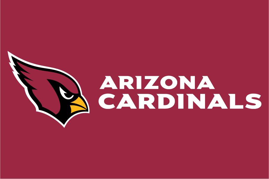 Arizona Cardinals Logo Wordmark Logo (2005-Pres) - Arizona Cardinals wordmark in white to the right of primary logo on red SportsLogos.Net