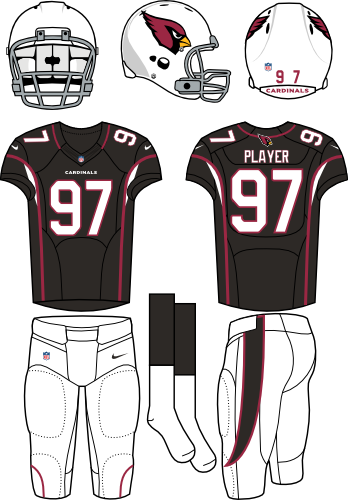 Arizona Cardinals Uniform Alternate Uniform (2012-Pres) - White helmet (primary logo on side) with black jersey (accented in red) and white pants. Manufactured by Nike. SportsLogos.Net