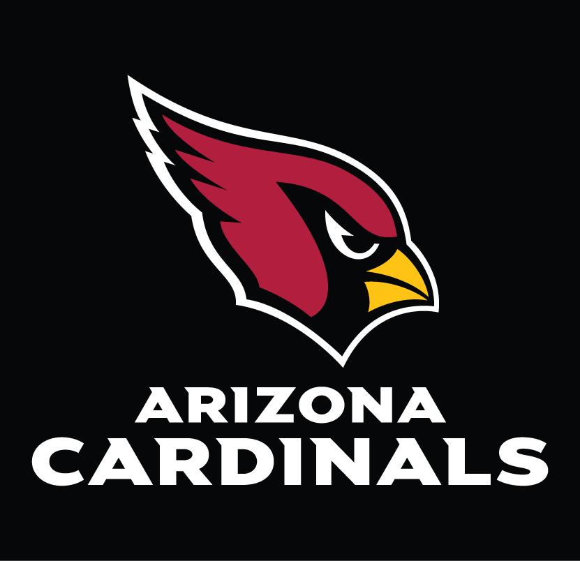 Arizona Cardinals Logo Wordmark Logo (2005-Pres) - Arizona Cardinals wordmark in white below primary logo on black SportsLogos.Net