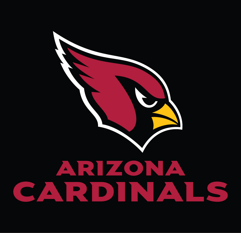 Arizona Cardinals Logo Wordmark Logo (2005-Pres) - Arizona Cardinals wordmark in red below primary logo on black SportsLogos.Net