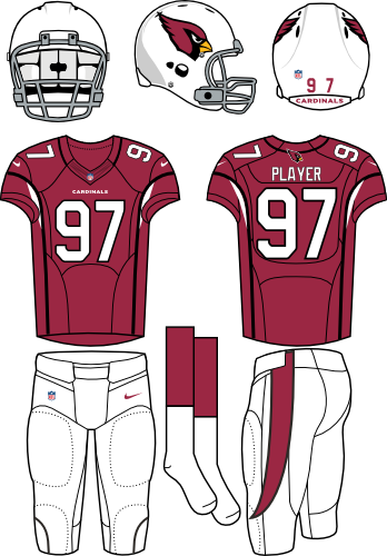 Arizona Cardinals Uniform Home Uniform (2012-Pres) - White helmet and pants with red jersey (black piping). Manufactured by Nike. SportsLogos.Net