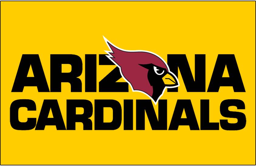 Arizona Cardinals Logo Wordmark Logo (1994-2004) - Arizona Cardinals wordmark on gold SportsLogos.Net