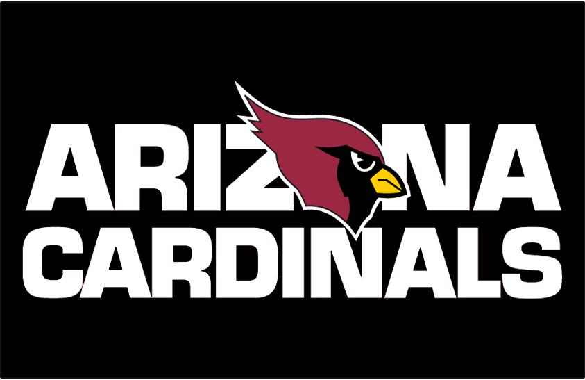 Arizona Cardinals Logo Wordmark Logo (1994-2004) - Arizona Cardinals wordmark on black SportsLogos.Net