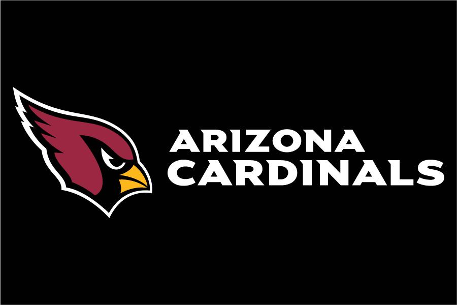 Arizona Cardinals Logo Wordmark Logo (2005-Pres) - Arizona Cardinals wordmark in white to the right of primary logo on black SportsLogos.Net