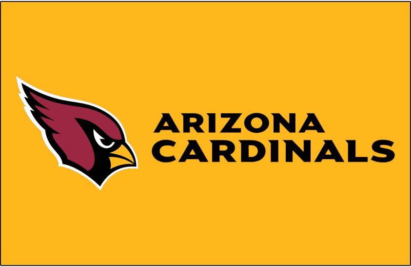 Arizona Cardinals Logo Wordmark Logo (2005-Pres) - Arizona Cardinals wordmark in black to the right of primary logo on gold SportsLogos.Net