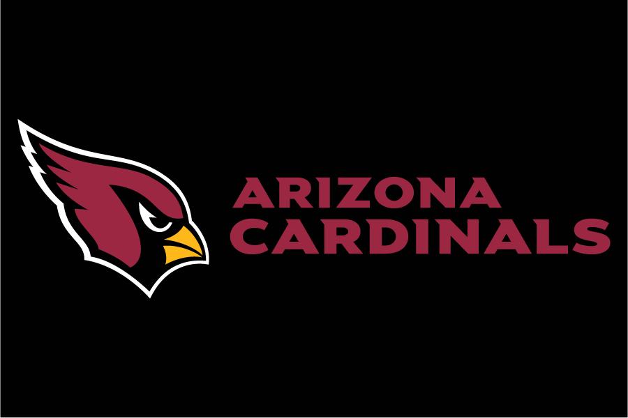 Arizona Cardinals Logo Wordmark Logo (2005-Pres) - Arizona Cardinals wordmark in red to the right of primary logo on black SportsLogos.Net