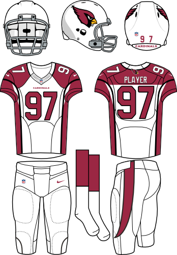 Arizona Cardinals Uniform Road Uniform (2012-Pres) - White helmet (primary logo on side) with white jersey (accented in red) and white pants. Manufactured by Nike. SportsLogos.Net